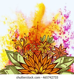 Floral Pattern, Symbolic Orange Flowers and Green Leafs, Colorful Ornament on Hand-Draw Watercolor Painting Background