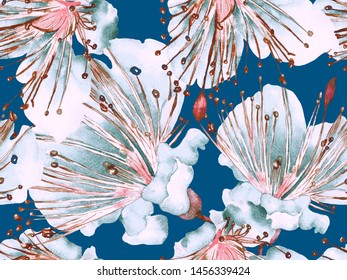 Floral Pattern Trendy. Large Hawaii Seamless Print on Green and Red Background. Large Hawaiian Spring Watercolor Lilikoi Endless Background. Random Floral Pattern.