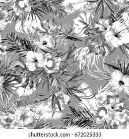 Floral pattern tropical bouquets background. Blossom flowers black and white color. Watercolor drawing tropical leaves monstera, palm and flowers hibiscus plumeria.