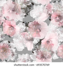 Floral pattern tropical peony pink flowers repeating blossom background. Amazing photo collage pastel light trend color blue for natural design art print. Artistic effect overlay composition on gray.