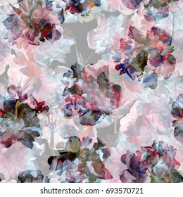 Floral pattern tropical repeating flowers blossom background. Amazing photo collage for natural design art. Artistic effect colorful layered colour and composition. Beautiful trendy color art work