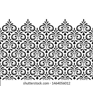 Floral pattern. Vintage wallpaper in the Baroque style. Seamless background. White and black ornament for fabric, wallpaper, packaging. Ornate Damask flower ornament