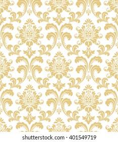 floral pattern wallpaper baroque damask seamless stock vector