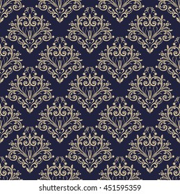 Floral pattern. Wallpaper baroque, damask. Seamless  background. Gold and black blue ornament. Stylish graphic pattern.
