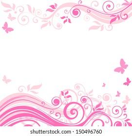 Floral pink border. Raster copy