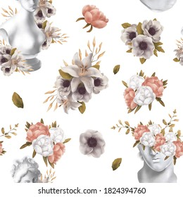 Floral raster seamless pattern. Botanical motifs with greek statue . Illustration with flowers can be used for wallpapers, pattern fills, web page backgrounds, surface textures. Gorgeous flowers