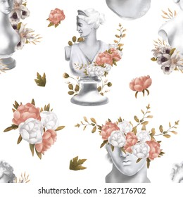 Floral raster seamless pattern. Botanical motifs with greek statue . Illustration with flowers can be used for wallpapers, pattern fills, web page backgrounds,surface textures. Gorgeous flowers