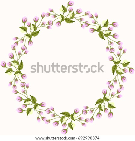 Floral Round Frames Cute Flowers Greeting Stock Illustration ...