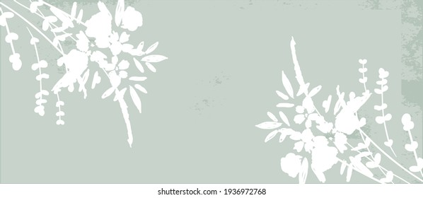 Floral rustic background with hand drawn doodle flowers and botanical elements. Delicate pattern for stationery design, wedding, birthday, greeting card, save the date, web, blog, social media