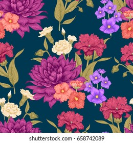 Floral seamless background with blooming dahlias and violets. Realistic floral illustration on black background. Vintage pattern for create design of paper, wallpaper, textiles, interior, fabrics.