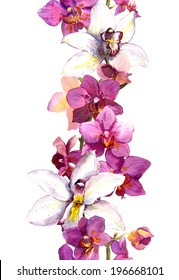 Floral seamless frame border with bright exotic flowers orchid. Aquarelle