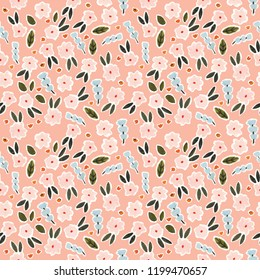 Floral Seamless Gouache and Acrylic Pattern
