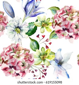 Floral seamless pattern with flowers,watercolourillustration