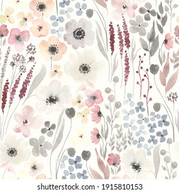 Floral seamless pattern with abstract flowers on ivory background. Watercolor illustration blossoming meadow in vintage rustic style.