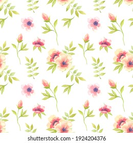 Floral seamless pattern with abstract leaves and spring  flowers in watercolour style. Hand drawn. Colorful spring background on white.
