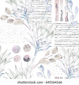 Floral seamless pattern. Abstract watercolor illustration. Grunge background with protea