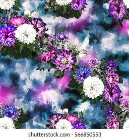 Floral seamless pattern with asters. Photo collage with colorful flowers and leaves.