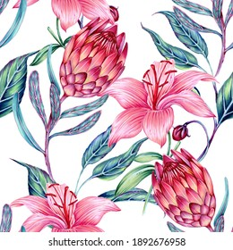 Floral seamless pattern background with blooming flowers, lily, protea flower, leaves. Decorative botanical exotic illustration wallpaper
