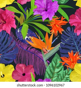 Floral seamless pattern. Background with isolated colorful hand drawn tropical flowers and leaves on black background. Design for invitation, prints and cards. .