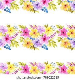 Floral seamless pattern. Beautiful floral bouquets. Painted with love, watercolor illustration