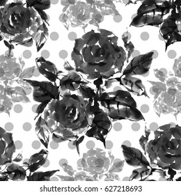 Floral seamless pattern. Beautiful weave flower rose, watercolor, ink, monochrome image.