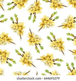 Floral seamless pattern with blooming yellow branches Forsythia. Watercolor illustration