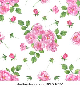 Floral seamless pattern. A bouquet of pink roses with green leaves on a white background. It can be used to create fabrics, wallpaper, and paper. Watercolour.