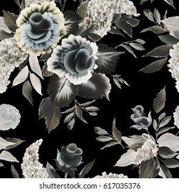 Floral seamless pattern. Decorative roses, lilac. Hand drawn high contrast brown yellow white flowers, buds,stems, leaves, bunches of lilac painted with acrylic in one stroke style on black background