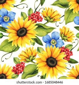Floral seamless pattern with decorative sunflowers, poppies, berries, flowers and leaves.