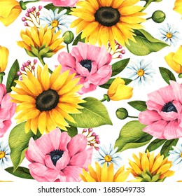 Floral seamless pattern with decorative sunflowers, poppies, daisies and leaves.
