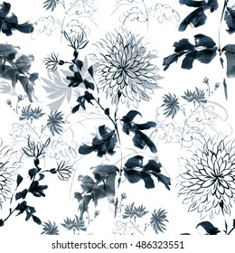 Floral seamless pattern, excellent chrysanthemum, drawn by hand in the traditional Oriental style, free brush, ink and watercolor.