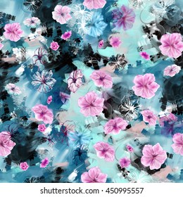 Floral seamless pattern. Five petal summer flowers like rosy periwinkle or petunia hand drawn with mixed media. Pink, blue, purple, contour blossoms on abstract chaotic varicolored background.