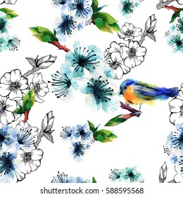 Floral seamless pattern with flowering branch and birds. Cute spring background on white. For textile, paper, wrapping and spring decoration