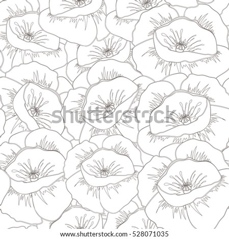 Floral Seamless Pattern Gray Colors Flower Stock Illustration