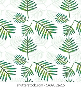 Floral seamless pattern, green, black and leaf on white background,