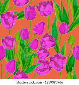 Floral seamless pattern with hand drawn tulips.