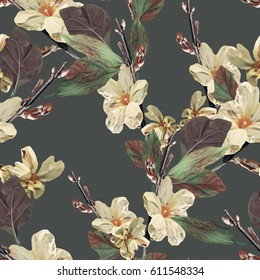 Floral seamless pattern. Hand drawn template for greeting cards, invitation, website.