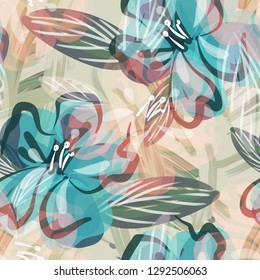 Floral Seamless Pattern. Hand Painted illustration. Artistic Background.