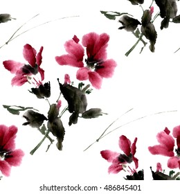 Floral seamless pattern of hibiscus flowers, watercolor ink, loose brush.