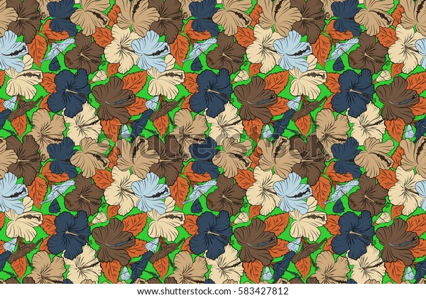 Floral seamless pattern hibiscus flowers. Hand drawn design in orange, blue and beige colors for invitation, wedding or greeting cards, textile, prints and fabric. Raster hibiscus floral pattern.