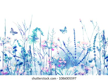 Floral seamless pattern horizontal background rim. Border with herbs, wild flowers, leaves and butterfly. Watercolor colorful botanical Illustration  on white background
