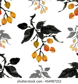 Floral seamless pattern, Japanese loquat fruit painted hands, loose brush, watercolor, ink.