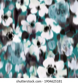 Floral seamless pattern with large blurred summer daisies. Watercolor hand drawn botanical background made of meadow flowers. Anemones buds blooming. Trendy defocused fashion design for fabric.