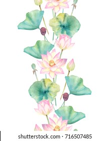 Floral seamless pattern with lotus. Watercolor hand drawn illustration