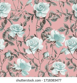 Floral seamless pattern made of gorgeous large roses. Acrilic painting with flower buds and leaves. Botanical ornament for fabric and textile.
