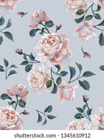 Floral seamless pattern made of opulent roses. Acrilic painting with flower buds and leaves. Botanical illustration for fabric and textile.