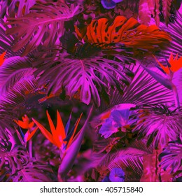 Floral seamless pattern neon color with effect soft focus and blur background. Artistic tropical raiforest background.
