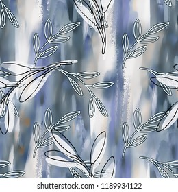 Floral Seamless Pattern on Abstract Background. Hand Painted Illustration