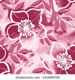 Floral Seamless Pattern on a Painted Background. Watercolor Illustration.