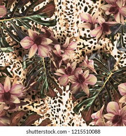 Floral seamless pattern with orchid flowers. Watercolor background.